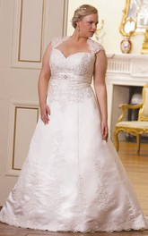 Queen Anne A-line Satin plus size wedding dress With Appliques