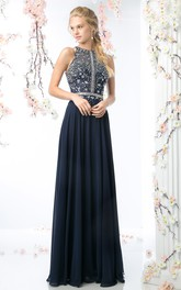 Jewel-Neck Sleeveless Chiffon Pleated Prom Dress With Crystal Detailing