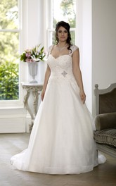 Queen-Anne Court-Train Broach Ball-Gown Princess Lace-Up-Back Satin Dress