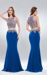 2-Piece Illusion Appliqued Trumpet Full-Length Sleeveless High-Neck Jersey Dress