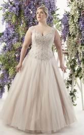 champagne Plunged Sleeveless Tulle plus size wedding dress With Beading