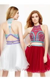 Short Cocktail Tulle Keyhole Mini A-Line Beaded Sleeveless High-Neck Dress