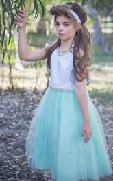 Beaded Satin Tea-Length V-Neckline Tulle Flower Girl Dress