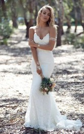 Trumpet Deep-V Neckline Spaghetti-Strap Fabulous Lace Dress