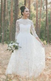 Jewel-Neck Lace Illusion Long Sleeve A-line Wedding Dress