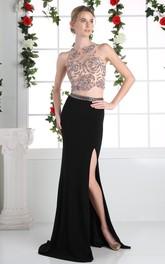Column Beaded Split Front Full-Length Jewel-Neck Jersey Sleeveless Keyhole Dress