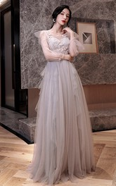 V-neck Off-the-shoulder Tulle Floor-length Prom Evening Dress With Ruffles