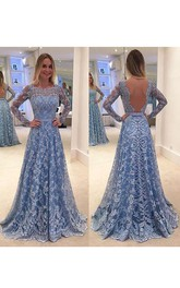 Appliqued Deep-V-Back Brush-Train A-Line Lace Gown