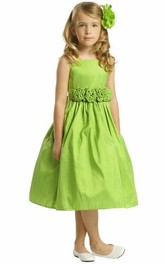 Taffeta Layered 3-4-Length Flower Girl Dress