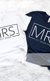 Custom Mr and Mrs T-shirts Honeymoon and Wedding Gift for Couples