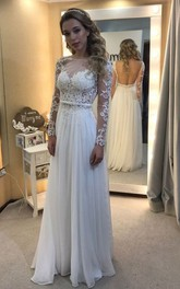 Bateau Chiffon Lace Illusion Long Sleeve Wedding Gown