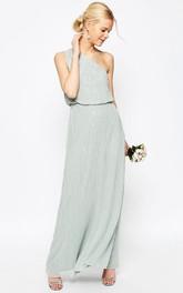 Sheath Ankle-Length Sleeveless Beaded One-Shoulder Chiffon Bridesmaid Dress