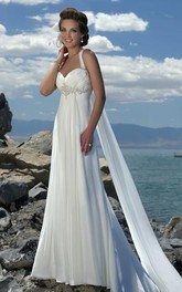 Chiffon Spaghetti Empire-Waist Wedding Dress