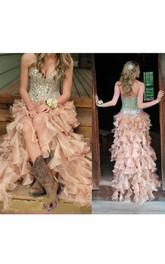 Ruffled Sequined Floor-Length Sleeveless Sweetheart Organza Long Dress