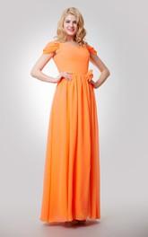 Floral Ruched Floor-Length Off-The-Shoulder Gown