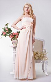 Floor-Length Bow Lace A-Line Strapless Chiffon Dress