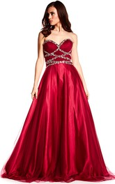 Sweetheart Beaded A-line Ball Gown prom Dress With Corset Back
