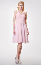 Cute Knee Length Chiffon Dress With Squared Back