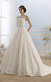 Bateau-Neck Waist Jewellery Lace Ball-Gown Princess Keyhole Dress