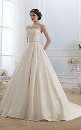 Bateau-Neck Waist Jewellery Lace Ball-Gown Princess Keyhole Dress