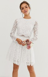 Casual Lace Two Piece Jewel-neck Short Wedding Dress