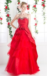 A-Line Lace-Up Floral Tiered Sweetheart Strapless Tulle Sleeveless Satin Dress