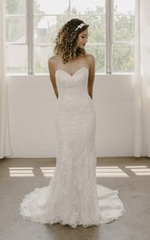 Sleeveless Mermaid Sweetheart Lace Wedding Dress With Open Back And Buttons