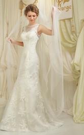 High-Neckline Illusion Floor-Length Column Lace Sleeveless Gown