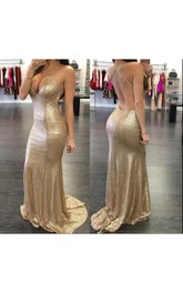 Trumpet Floor Length Prom Sleeveless Sassy Sequined Dress