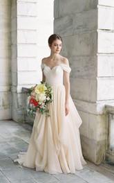 Long Draped Off-The-Shoulder Criss-Cross Dress