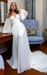 A Line Off-the-shoulder Chiffon Floor-length Court Train Long Sleeve Corset Back Wedding Dress