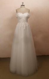 Lace Rhinestone Wedding Tulle Cap-Sleeve Satin Gown