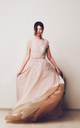 Bateau-Neck Appliqued A-Line Ethereal Long Gown