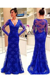 Lace Illusion Back V-Neckline Long-Sleeve Dress