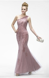 Elegant One Shoulder Sleeveless Mermaid Tulle Dress With Appliques And Zipper