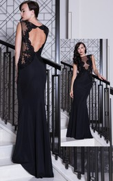Sheath Sleeveless Floor-length Dress With Appliques And Keyhole