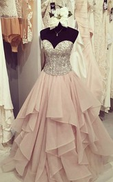 Sweetheart Organza Sleeveless Floor-length Beading Pleats Ruffles Dress