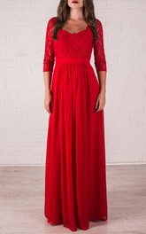 Floor-Length Bridal Lace Red Prom Formal Bridesmaid Dress