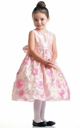 Bowknot Embroidery Tea-Length Floral Flower Girl Dress