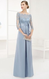 Bateau Long Sleeve Illusion Sheath Dress With Appliques