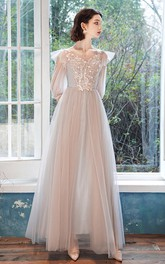Ethereal Bateau Halter Off-the-shoulder Tulle Long Prom Formal Dress With Appliques
