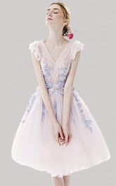 Adorable Knee Length Tulle Dress With Floral Appliques And Cap Sleeves