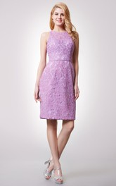 Classic Illusion High Neck Short Lace Dress With Sheer Back
