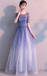 Bateau Tulle Tea-length Floor-length Evening Formal Dress With Sequins