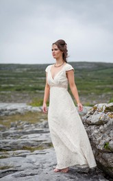 A-Line Beaded Band Wedding V-Neckline Cap-Sleeve Lace Gown
