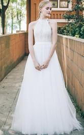 Halter Lace Tulle Sleeveless Floor-length Zipper A Line Wedding Dress