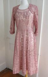 vintage Half Sleeve Knee-length Lace Dress With cape