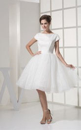 Bateau Short Sleeve Satin Knee-length Wedding Dress With Zipper