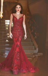 Luxury Sexy Plunging V-neck Mermaid Gown With Beading And Open Back