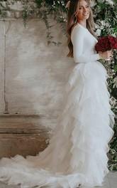 Spandex and Organza Long Sleeve Low-V Back Wedding Dress